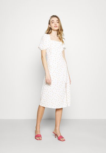TIE BACK MIDI DRESS WITH PUFF SHORT SLEEVES SQUARE NECKLINE