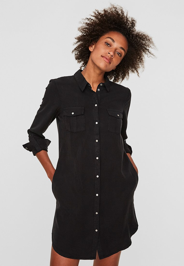 Vero Moda - VMSILLA SHORT DRESS - Abito a camicia - black