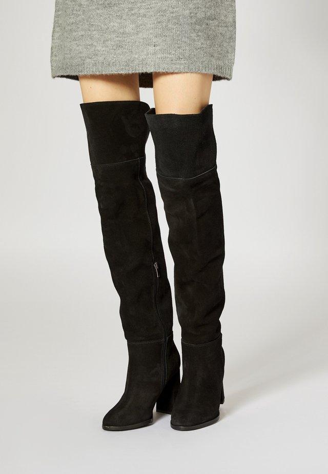 Kozačky nad kolena - noir