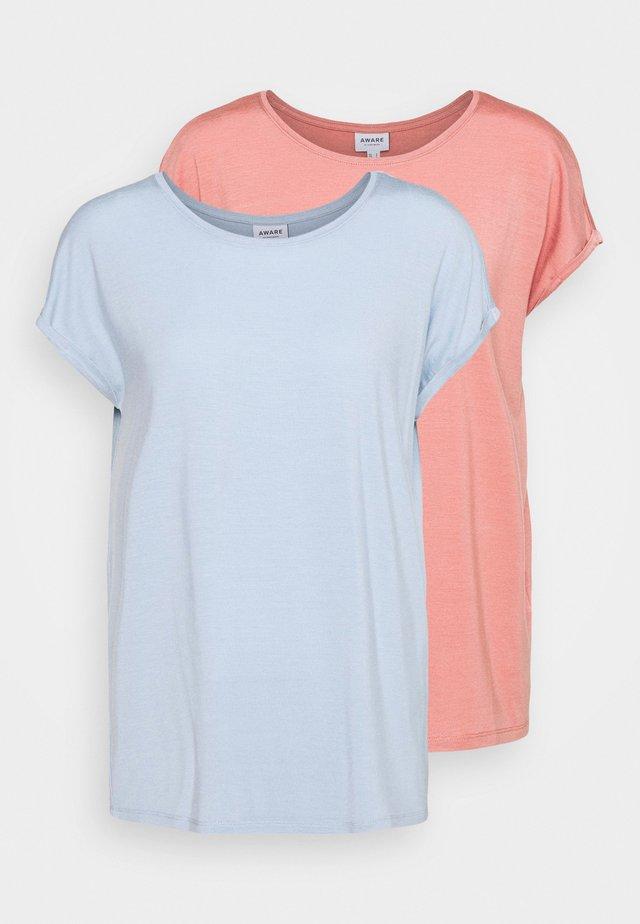 VMAVA PLAIN 2 PACK - Basic T-shirt - blue fog/old rose