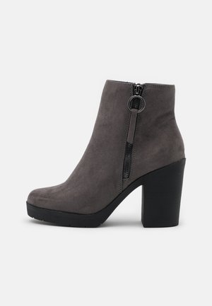 ABBY SIDE ZIP HEELED  - High heeled ankle boots - grey