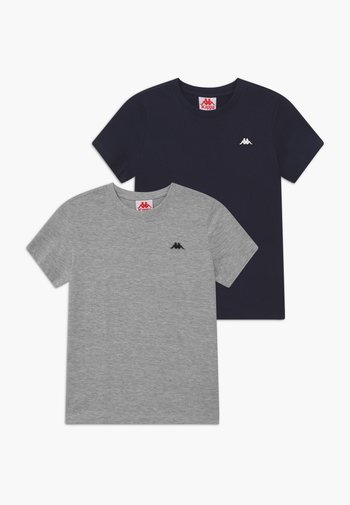 2 PACK - Basic T-shirt - high-rise melange/total eclipse