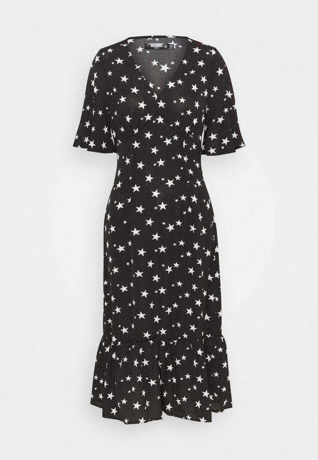 RUCHED BUST MIDI DRESS STAR - Day dress - black