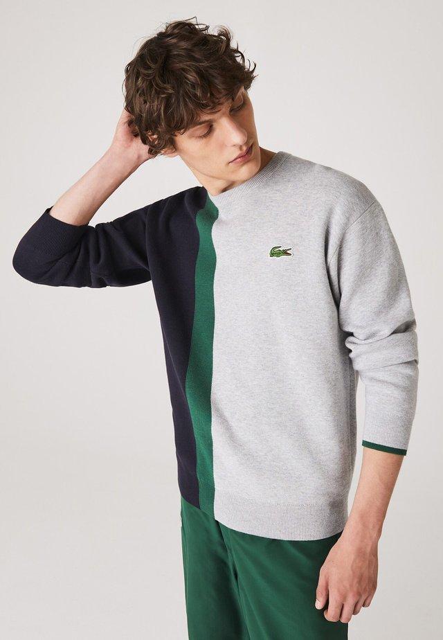 Sweatshirt - gris chine / bleu marine / vert