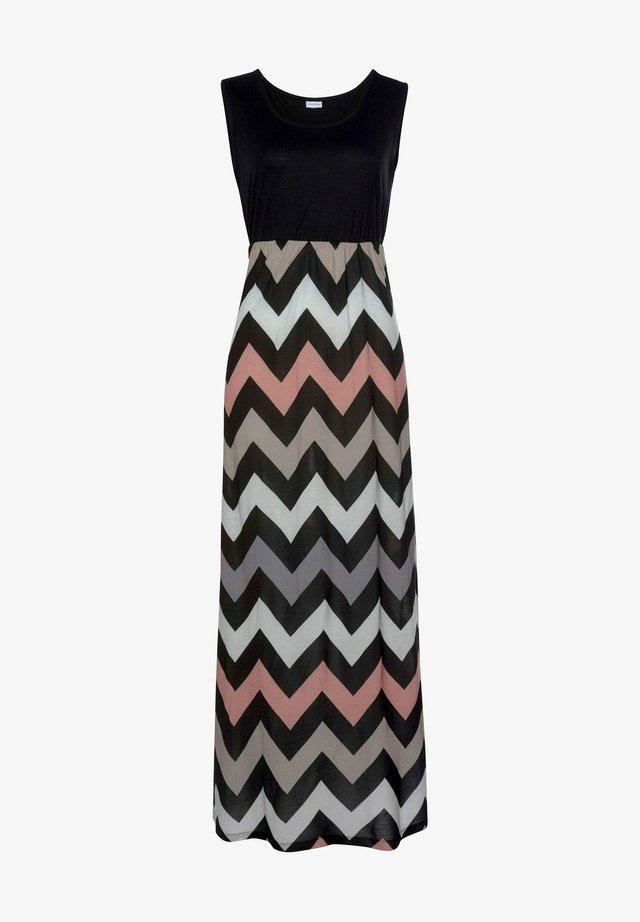 Maxi dress - schwarz-rose-creme-taupe