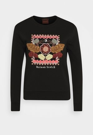 CREWNECK EMBROIDERED ARTWORK - Sweater - black