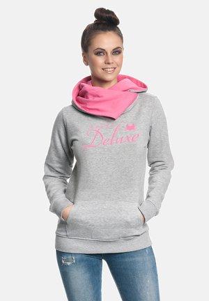 Hoodie - grau meliert pink