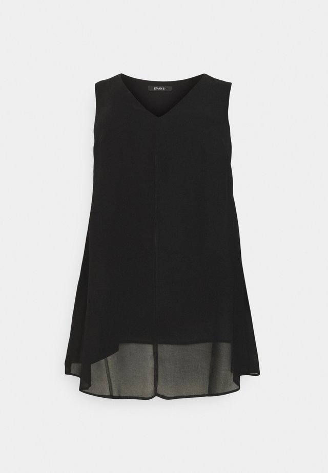 SLEEVELESS SPLIT FRONT - Bluse - black