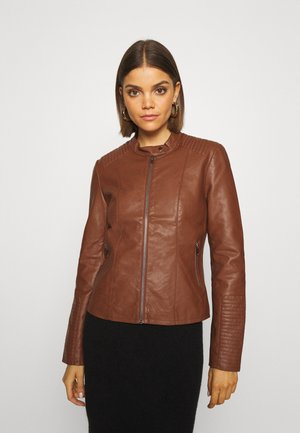 Faux leather jacket - tortoise shell