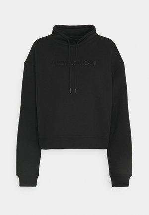 SHINY RAISED INST MOCK NECK - Bluza - black