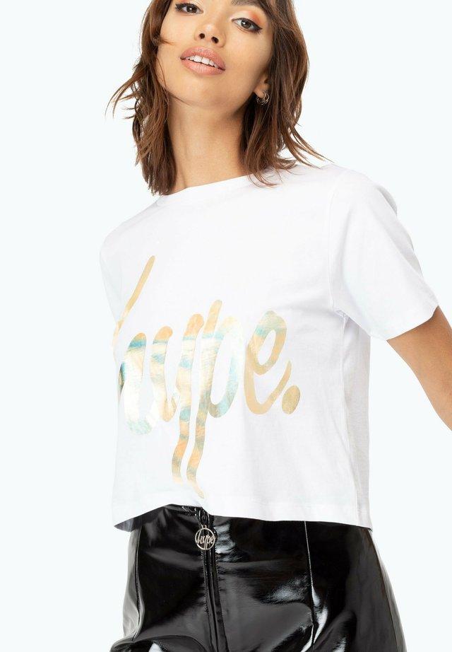 Print T-shirt - gold/white