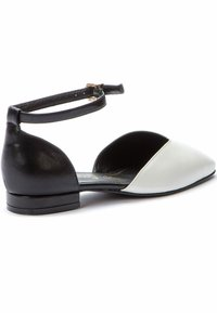 Betsy - Ankle strap ballet pumps - white  black - 2