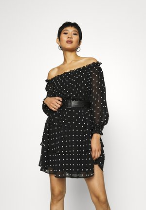 DRAPY  - Day dress - black/white