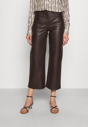 SHEENA WIDE LEG POCKETS  - Leather trousers - dark brown