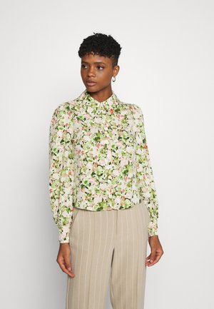 NALA BLOUSE - Button-down blouse - yellow dusty light grassy