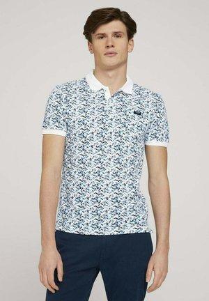 Polo shirt - white base blue shades design