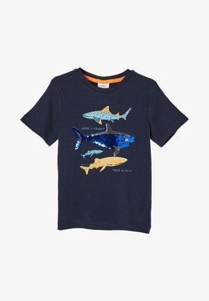 MIT WENDEPAILLETTEN - T-shirt print - dark blue