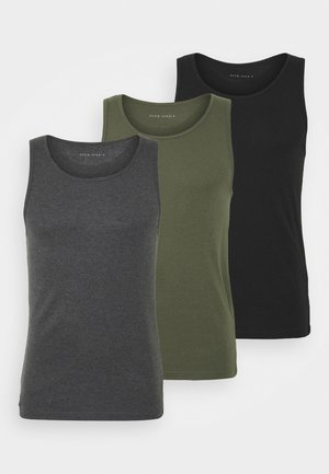 3 PACK - Undertrøye - black/khaki/mottled dark grey
