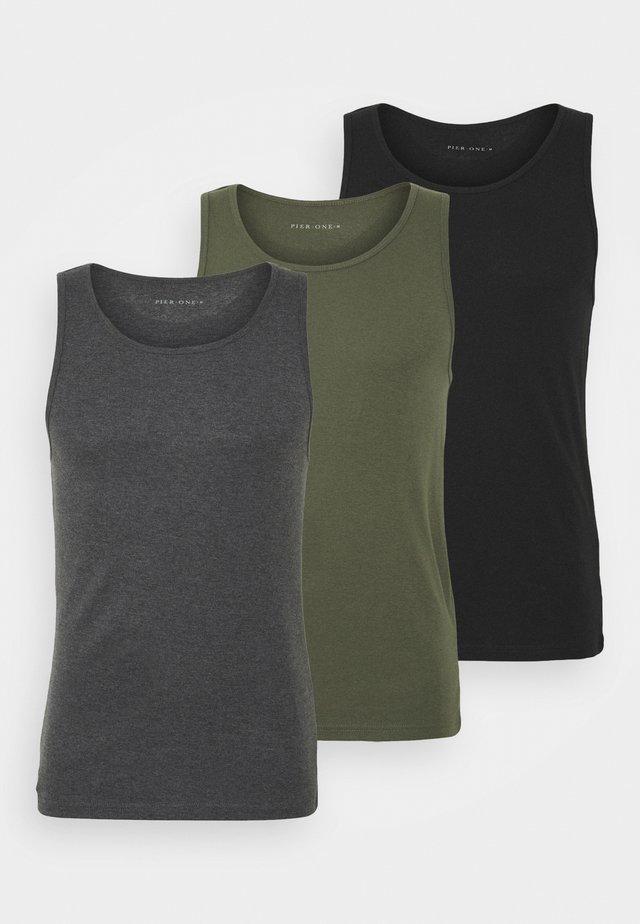 3 PACK - Maglietta intima - black/khaki/mottled dark grey