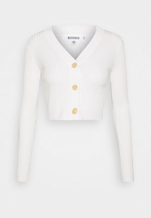CROPPED BUTTON - Chaqueta de punto - cream