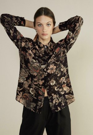 Button-down blouse - stampa tappezzeria nero