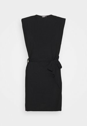 SHOULDER PAD BELTED MINI DRESS - Koktejlové šaty / šaty na párty - black
