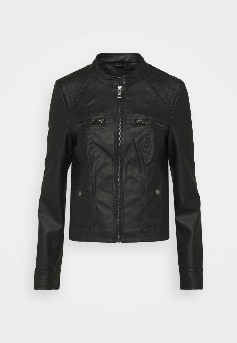 Vero Moda Tall - VMTEXAS SHORT COATED JACKET - Imitert skinnjakke - black