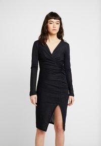 AllSaints - RINA GLITZ WRAP DRESS - Strikket kjole - ink blue - 1