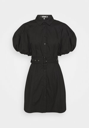 BELTED SHIRT DRESS - Abito a camicia - black