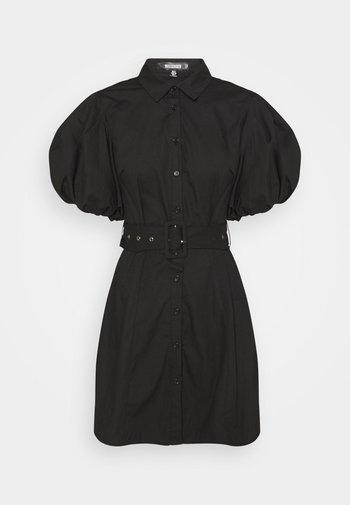 BELTED SHIRT DRESS - Skjortekjole - black