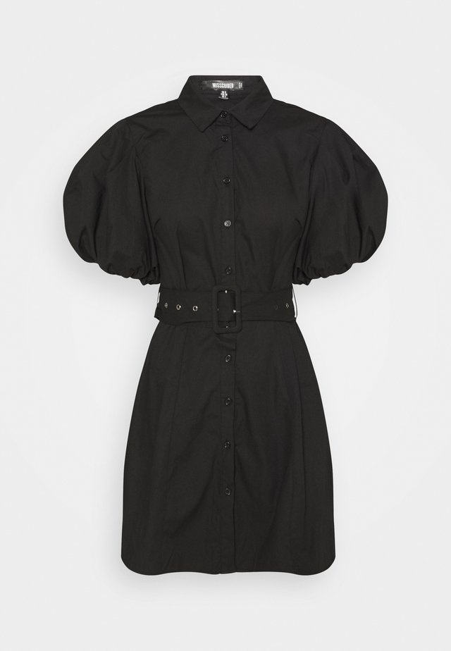 BELTED SHIRT DRESS - Robe chemise - black