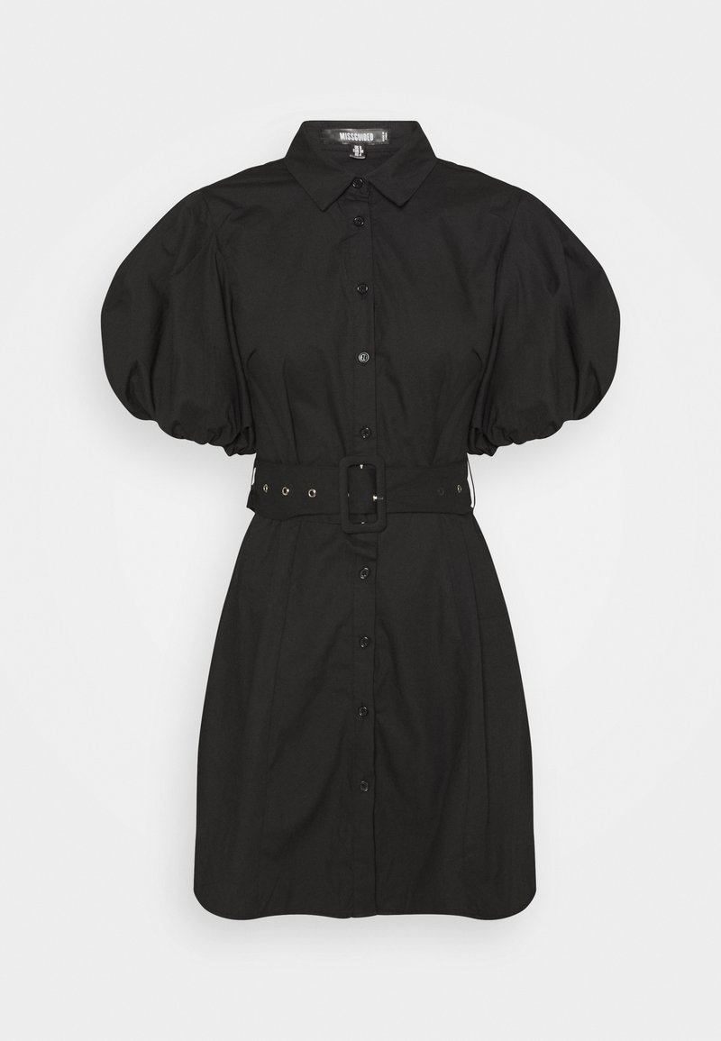 Missguided - BELTED SHIRT DRESS - Robe chemise - black
