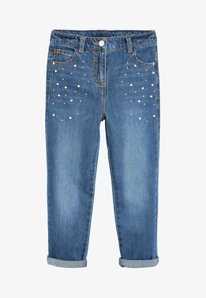 MID BLUE PEARL EMBELLISHED MOM JEANS (3-16YRS) - Straight leg jeans - blue