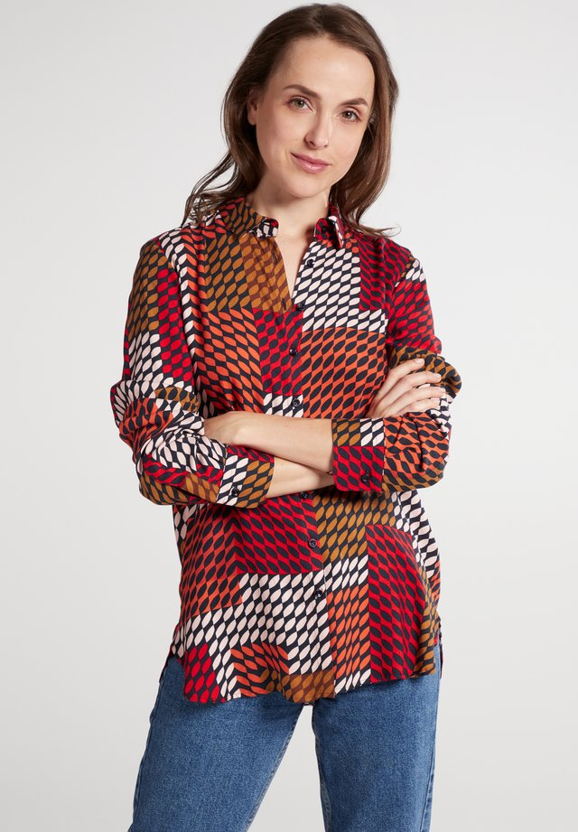 Button-down blouse - rot/braun/rosa