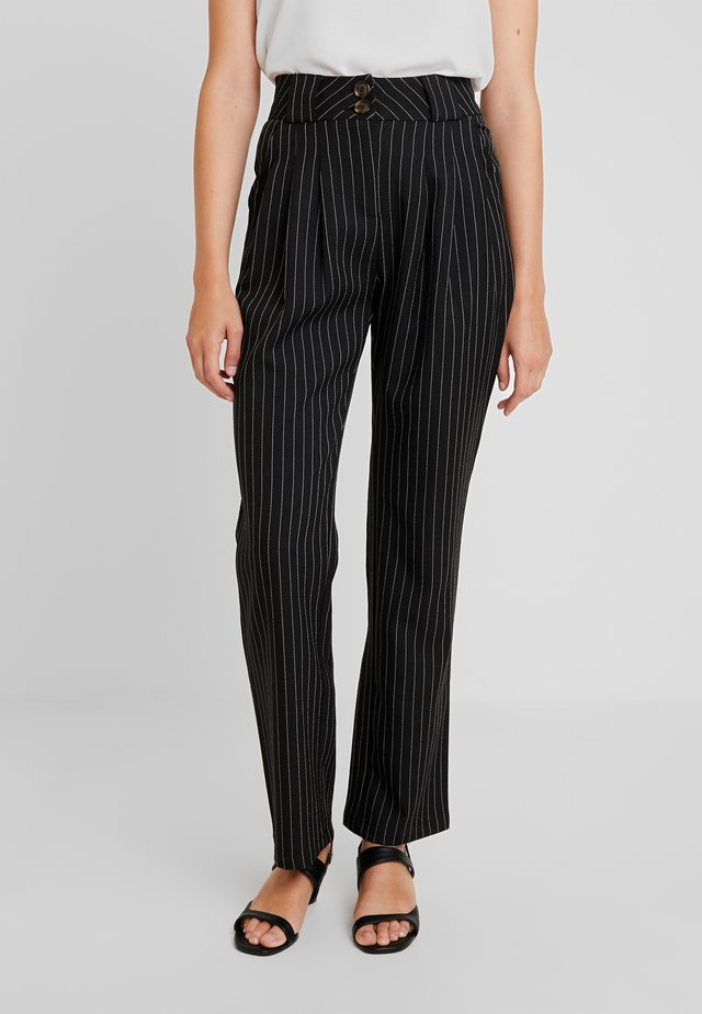 PINSTRIPE SLIM FIT CIGARETTE TROUSER - Trousers - black