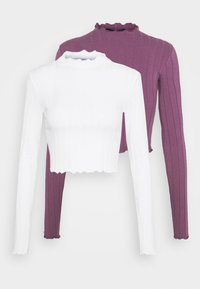Monki - BLAZE 2 PACK - Maglietta a manica lunga - lilac/white - 6