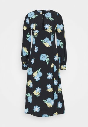 MIDAXI DRESS WITH PUFF LONG SLEEVES ROUND NECKLINE CUT-OUT FRONT - Robe d'été - blue