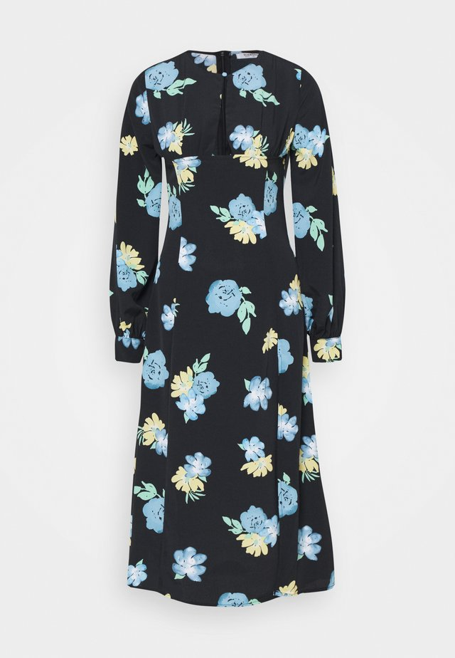 MIDAXI DRESS WITH PUFF LONG SLEEVES ROUND NECKLINE CUT-OUT FRONT - Sukienka letnia - blue