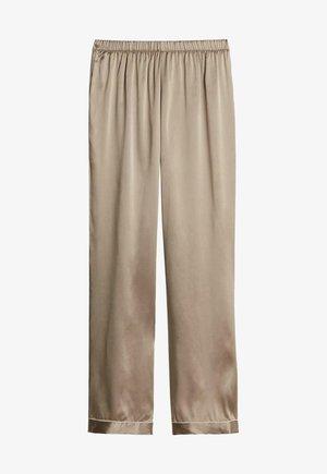 LANGE HOSE AUS SATIN UND SEIDE - Pyjama bottoms -  powder beige