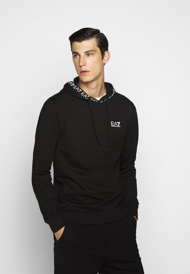 HOODIE COLLAR LOGO - Sweat à capuche - black