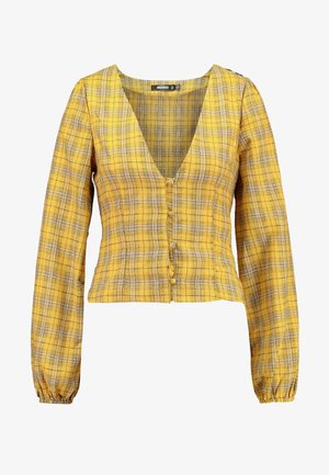 CHECK BUTTON FRONT TIE WAIST - Blouse - yellow