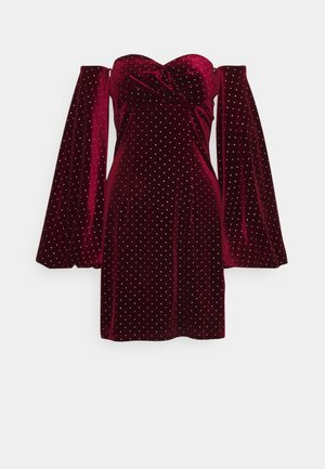 STUD PUFF SLEEVE MINI DRESS - Koktejlové šaty / šaty na párty - burgundy