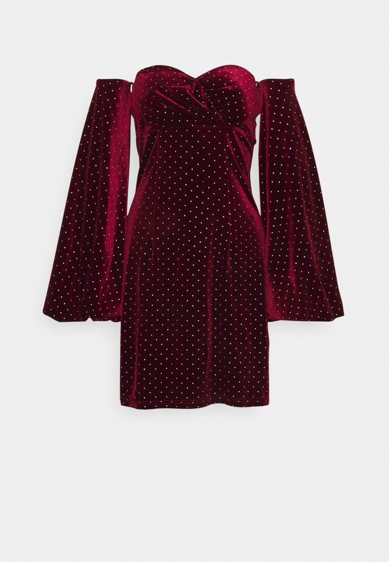 Missguided Tall - STUD PUFF SLEEVE MINI DRESS - Cocktail dress / Party dress - burgundy