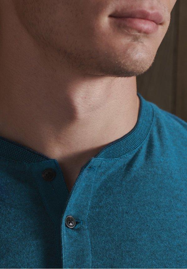 Superdry HENLEY - Bluzka z długim rękawem - ketion blue marl/granatowy Odzież Męska GEQM