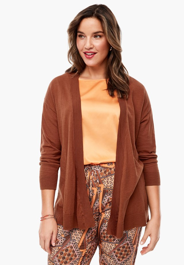MET EEN OPEN VOORPAND - Cardigan - burned orange