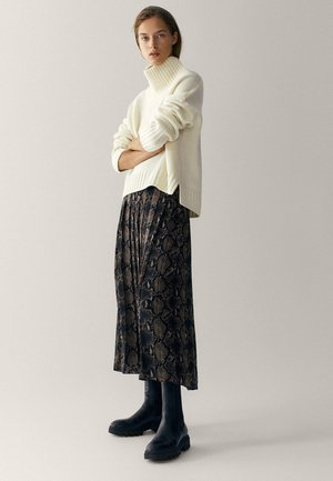 MIT SCHLANGENHAUTPRINT - A-line skirt - brown