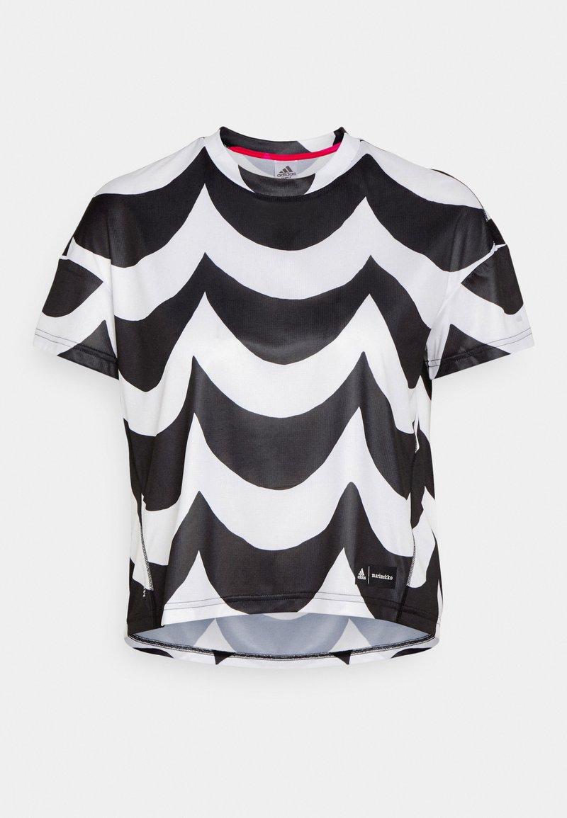 adidas Performance - MARIMEKKO TEE - Sportshirt - black/white
