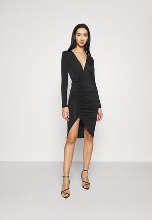 PLUNGE RUCHED DRESS - Vestido ligero - black
