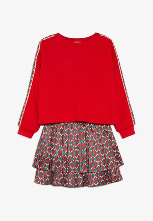2-IN-1 STYLE DRESS WITH ALL OVER PRINTED - Sukienka z dżerseju - red/multicolor