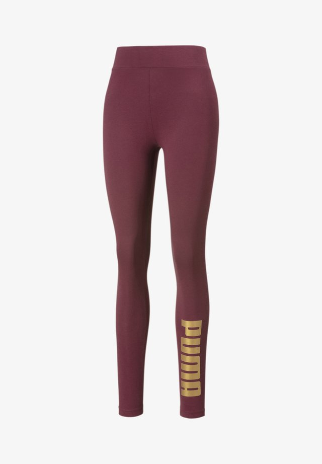 Leggings - Trousers - burgundy-gold